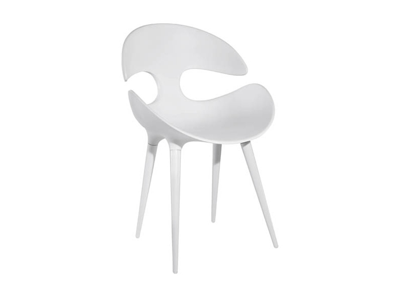 Chaise Design Coque Pied Metal Blanc KAT