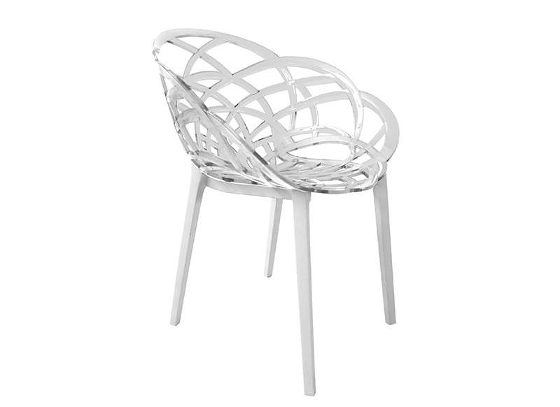 Chaise contemporaine transparente pieds blanc flora for Chaise salon contemporaine