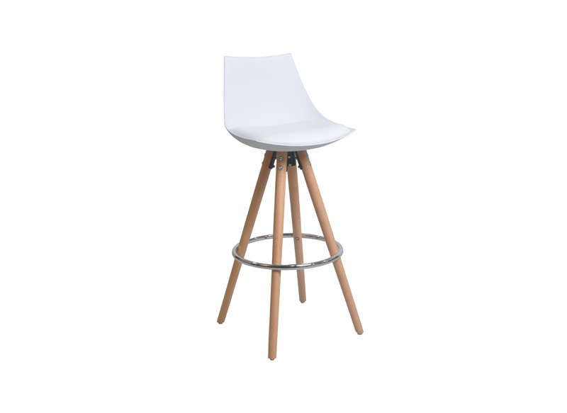tabouret de bar blanc pied bois achatdesign. Black Bedroom Furniture Sets. Home Design Ideas