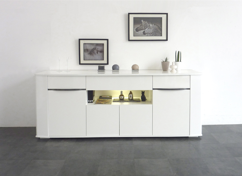 Buffet laqu blanc bercy achatdesign - Buffet salon blanc laque ...