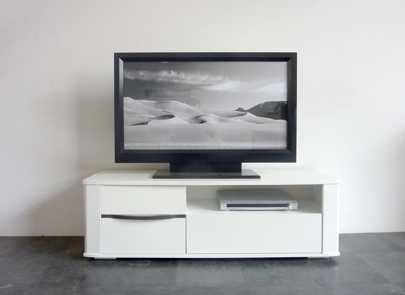 Meuble tv blanc laqu bercy for Meuble tv console