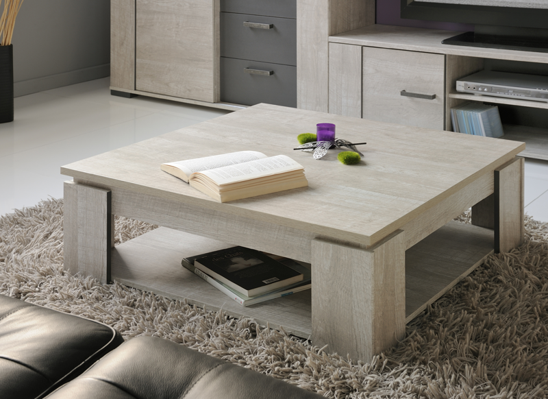 Table basse carr e bois anvers - Table basse carree bois gris ...