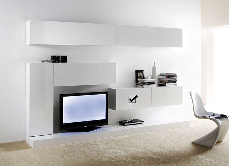 Meuble tv mural suspendu design laqu horizontal d s for Meuble tv suspendu blanc