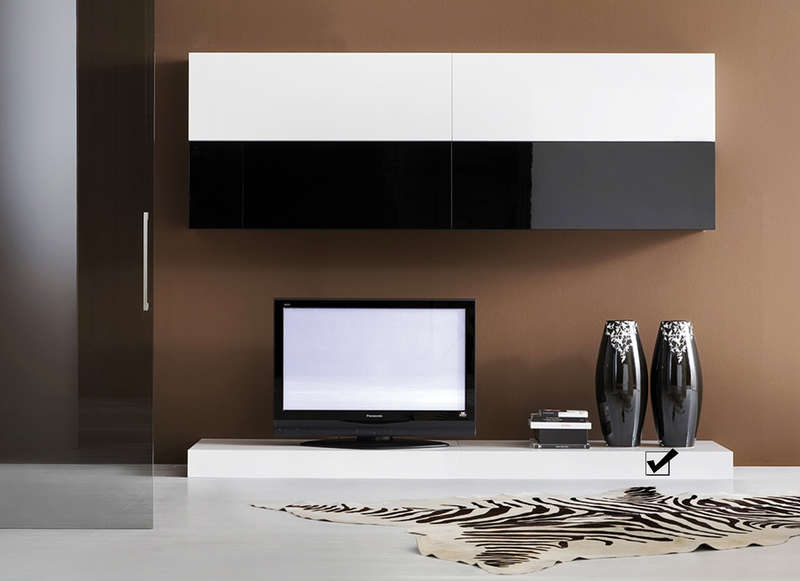banc tv laqu 120 cm pas cher slim s achatdesign. Black Bedroom Furniture Sets. Home Design Ideas