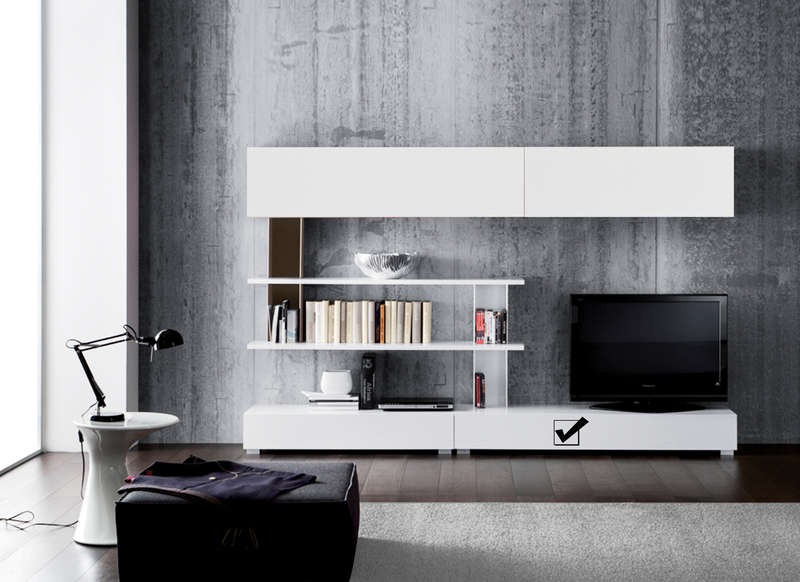 Meuble tv design laqu 160 cm sylt achatdesign - Meuble de salon blanc laque ...