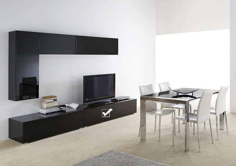 banc tv avec tiroir laqu noir design standard l achatdesign. Black Bedroom Furniture Sets. Home Design Ideas