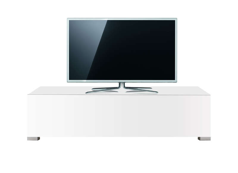 Banc tv 120 cm laqu gris design standard s achatdesign for Meuble tv 120 cm blanc