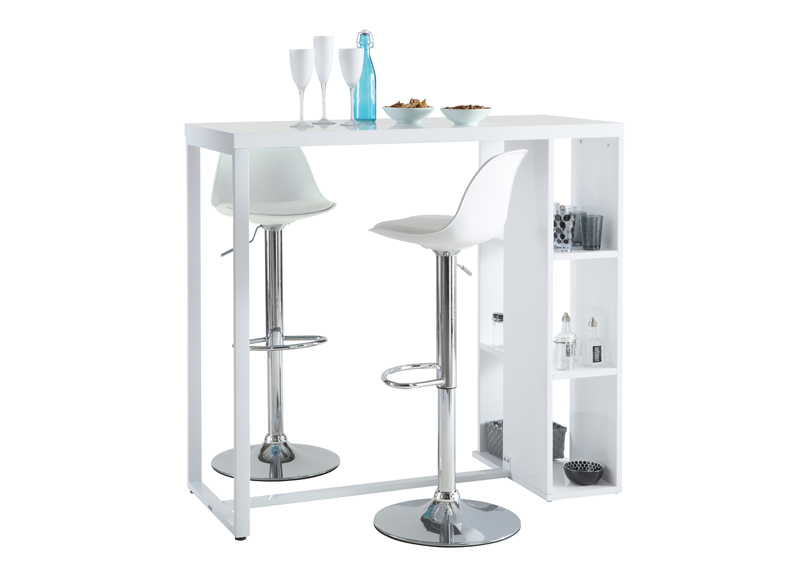 Table haute blanche break - Table de bar blanc laque ...