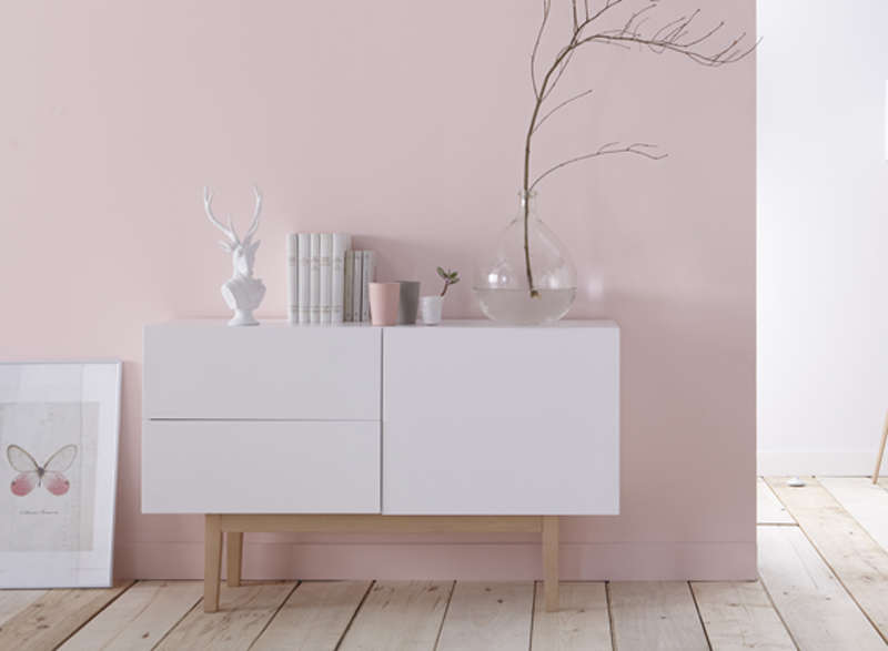 Buffet design blanc & bois Blanc COPENHAGUE-M