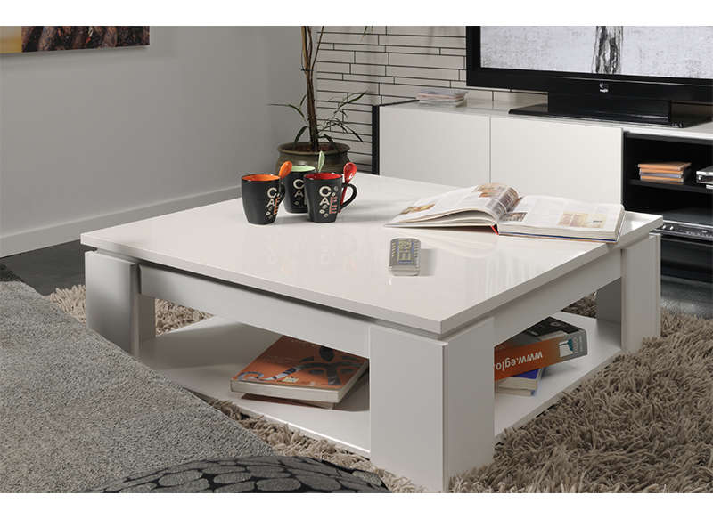 Table basse carr e blanche casa - Table basse de salon blanche ...