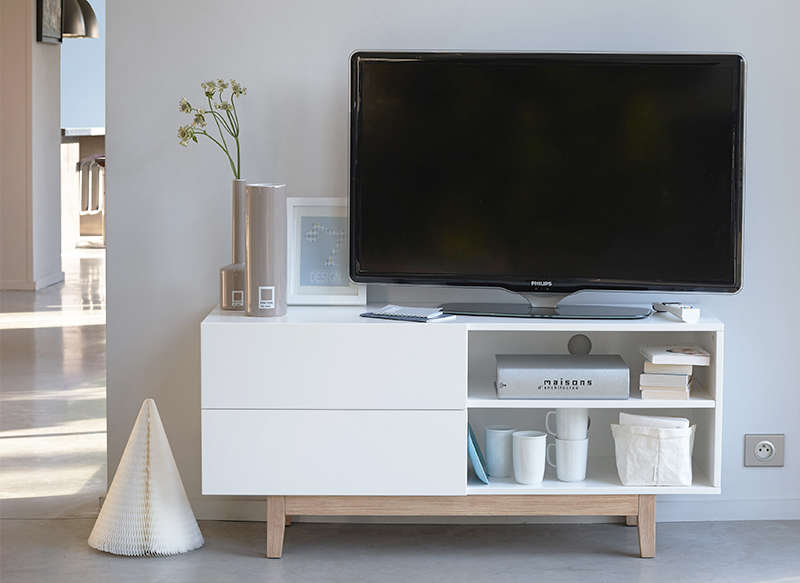 Meuble tv scandinave Blanc COPENHAGUE