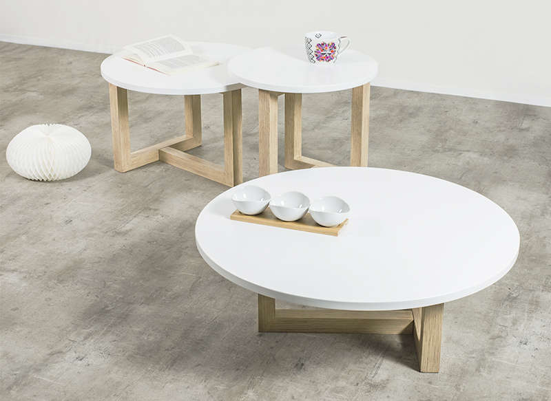 Table basse scandinave ronde achatdesign - Table basse scandinave blanche ...