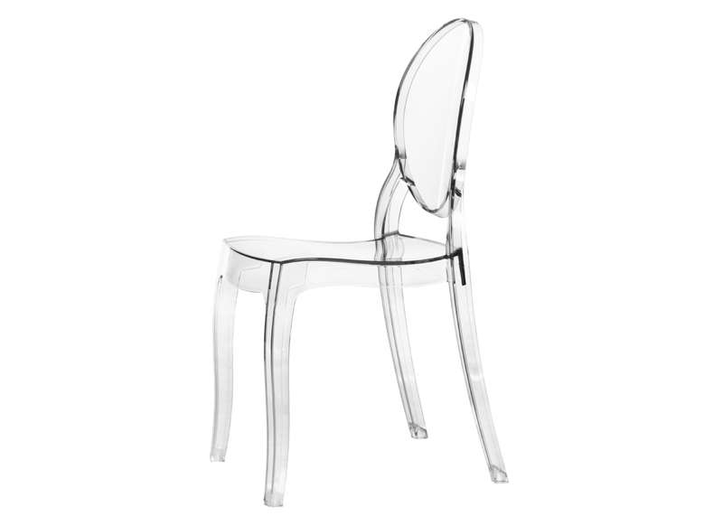Lot 4 Chaises Medaillon En Polycarbonate Transparent LOT ELIZABETH
