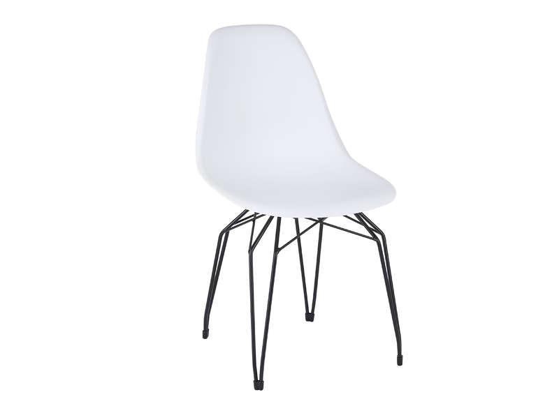 Chaise en polypropyl ne pied noir achatdesign for Chaise blanche pied noir