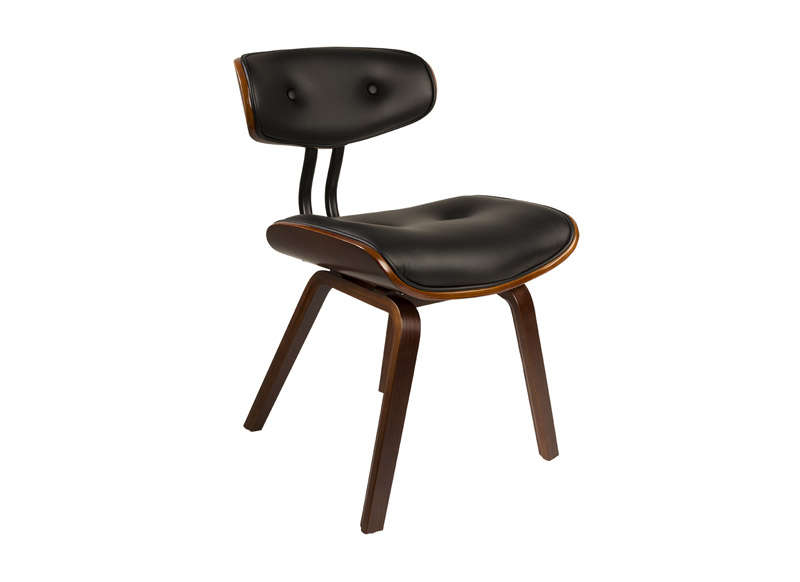 Chaise vintage assise noire Noir BLACKWOOD