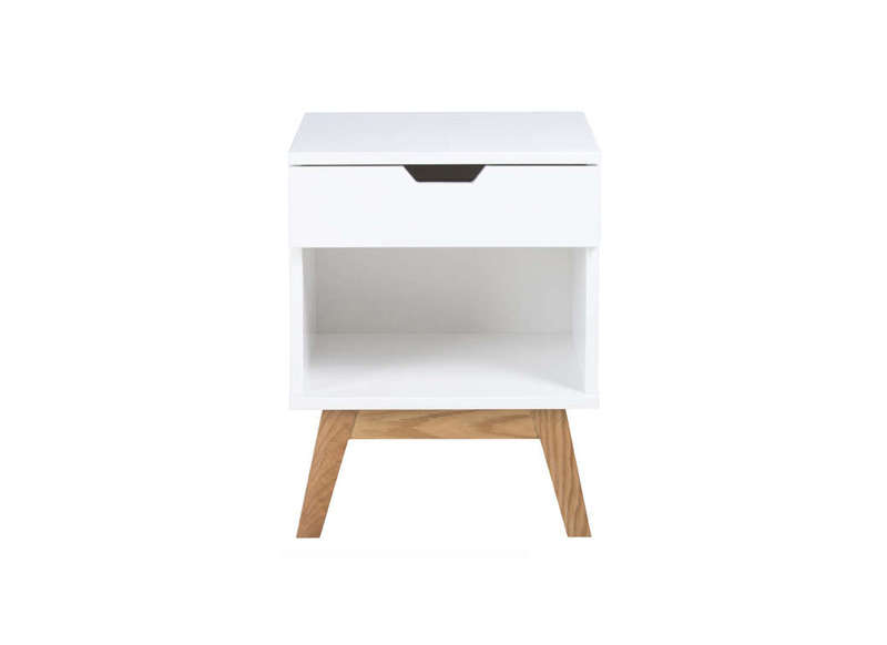 Table de chevet blanc laqu dormi - Table de chevet design laque blanc ...