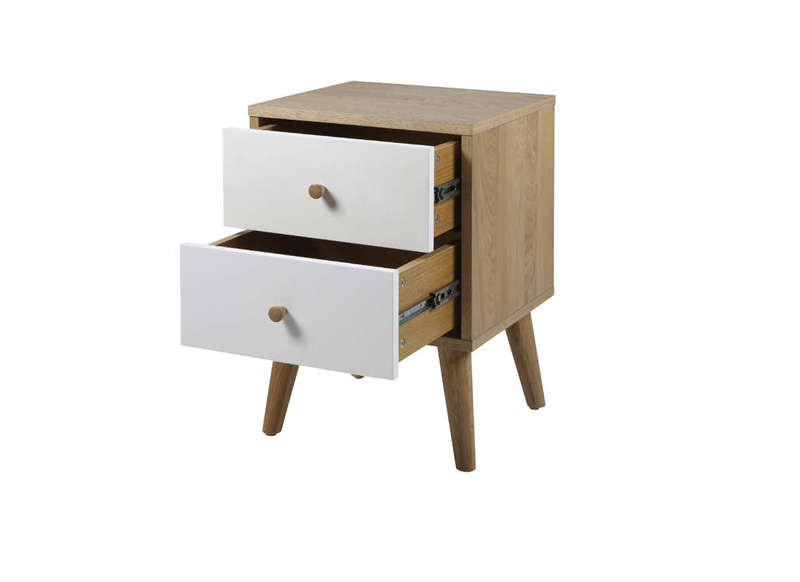 Chevet scandinave 2 tiroirs oslo - Table de chevet chene ...