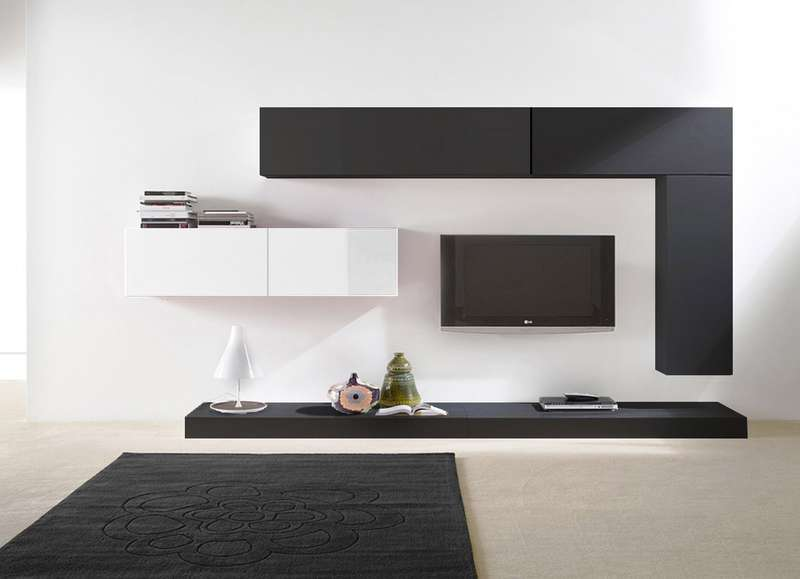 Ensemble tv mural laqu design city achatdesign - Ensemble mural tv ikea ...