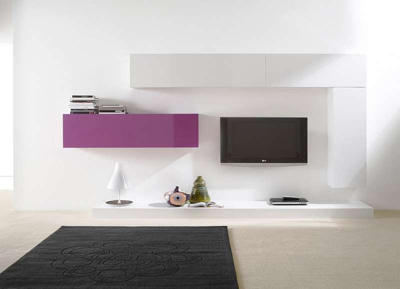 Ensemble tv mural suspendu city v achatdesign - Meuble tv suspendu design ...