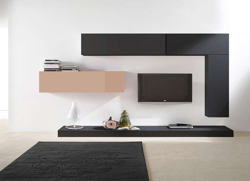 ensemble tv mural suspendu city v achatdesign. Black Bedroom Furniture Sets. Home Design Ideas