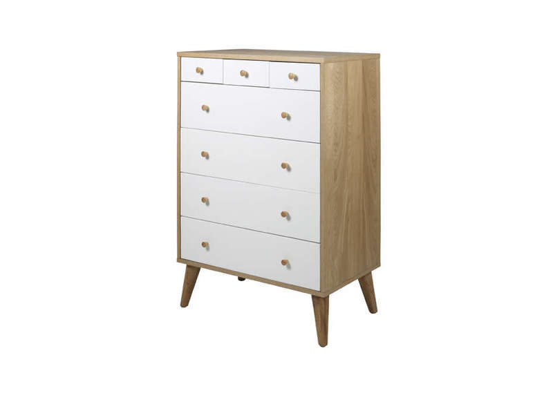 Commode verticale 7 tiroirs Chêne Nordic