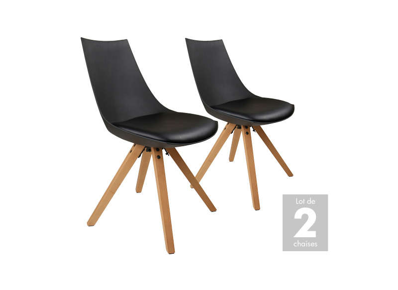lot 2 chaises scandinaves noir milan - Chaise Scandinave Noir