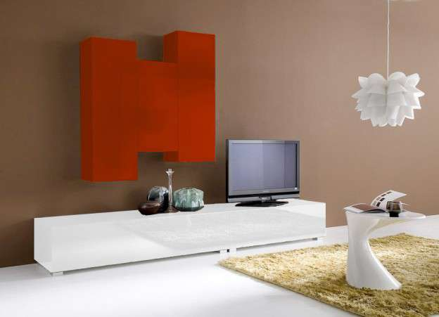 ensemble tv suspendu laqué design elegance :: achatdesign - Meuble Bas Design Laque