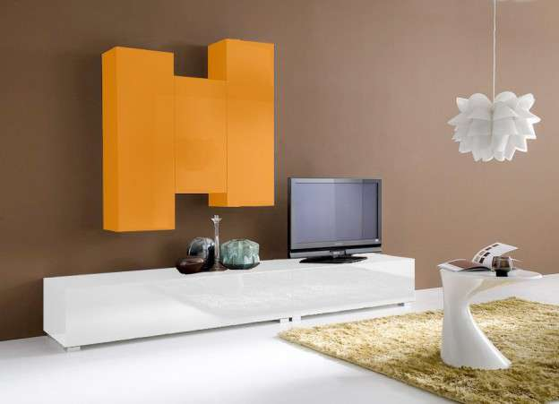 Ensemble tv suspendu laqu design elegance achatdesign for Meuble tv mural pas cher