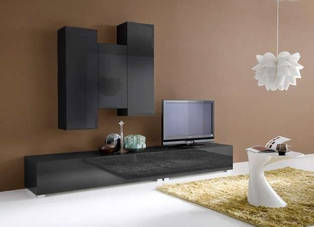 Ensemble tv suspendu laqu design elegance achatdesign - Ensemble mural tv design ...