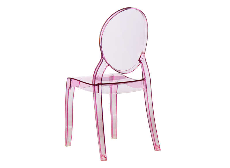Lot 4 chaises médaillon en polycarbonate Rose LOT ELIZABETH