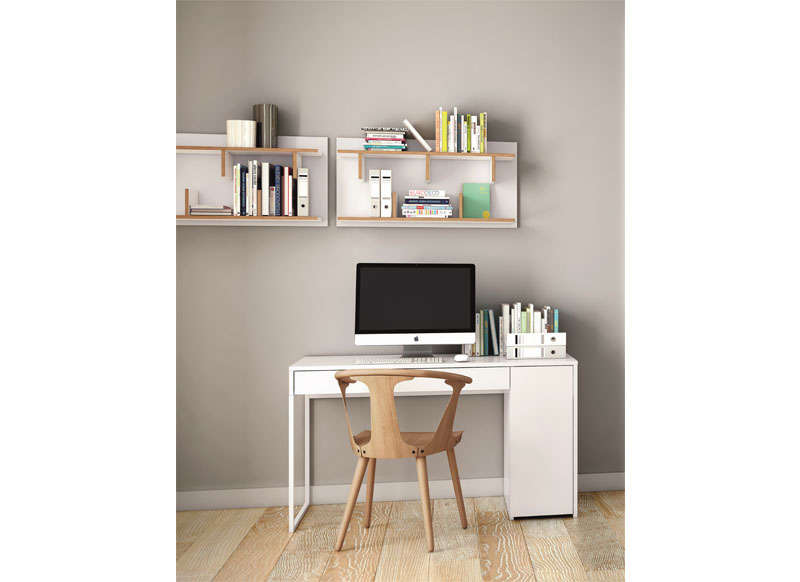 Etag re blanche murale 90 cm design scandinave bern for Deco etagere murale salon