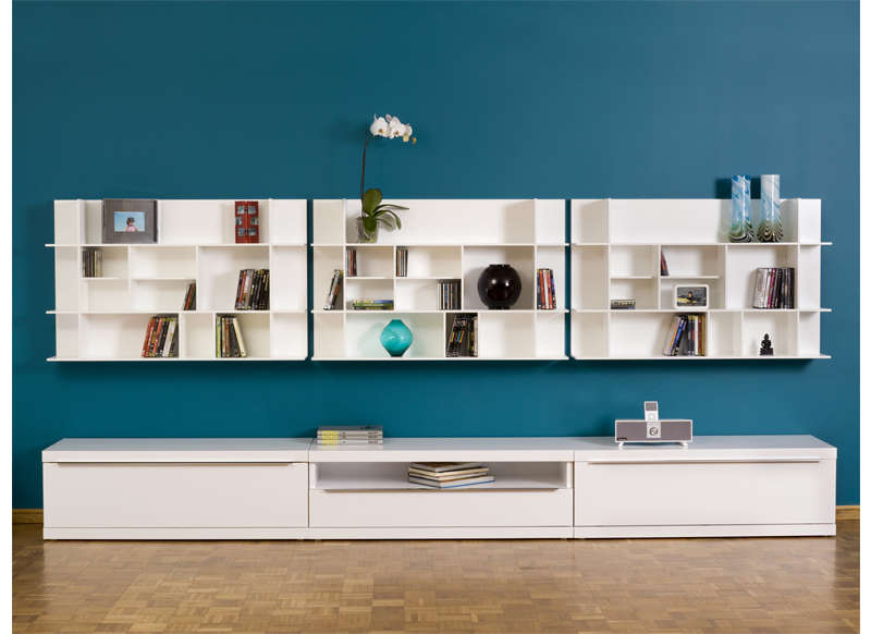 Etag re murale design blanc panorama for Deco etagere murale salon