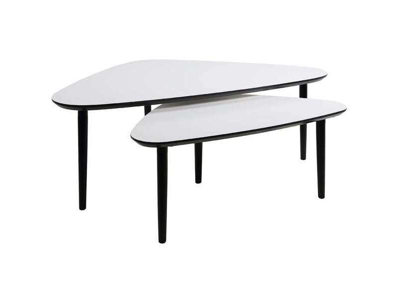 Ensemble de 2 tables basses gigognes garlic - Table blanche et noir ...