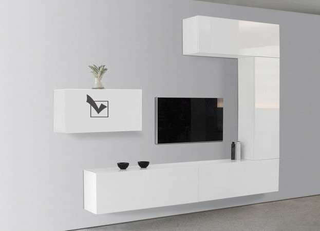 Meuble tv mural suspendu design laqu horizontal d s - Meuble a suspendre pour salon ...