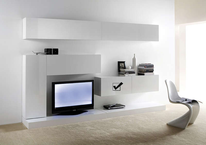 Meuble tv mural suspendu design laqu horizontal d s for Meuble mural salle a manger