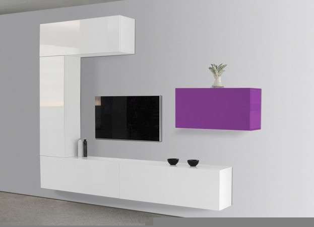 Meuble tv mural blanc horizontal up s for Meuble tv suspendu fly