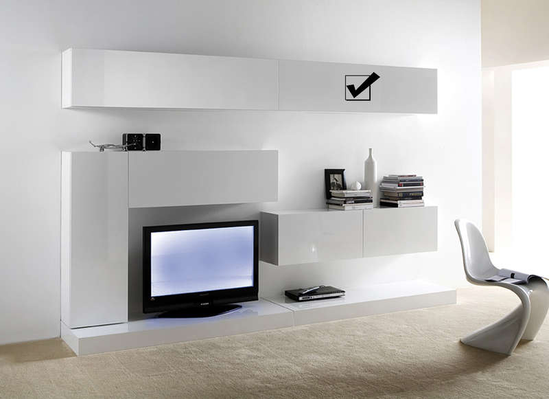 meuble tv mural blanc horizontal up l. Black Bedroom Furniture Sets. Home Design Ideas