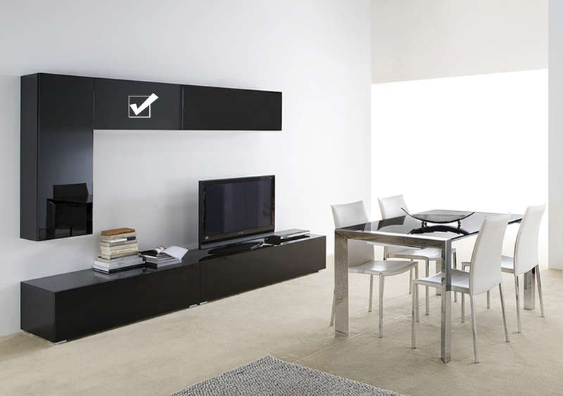 Meuble tv mural noir horizontal up s - Meuble tele mural design ...