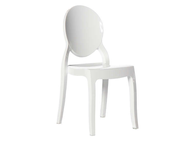 Lot 4 Chaises Medaillon En Polycarbonate Blanc LOT ELIZABETH