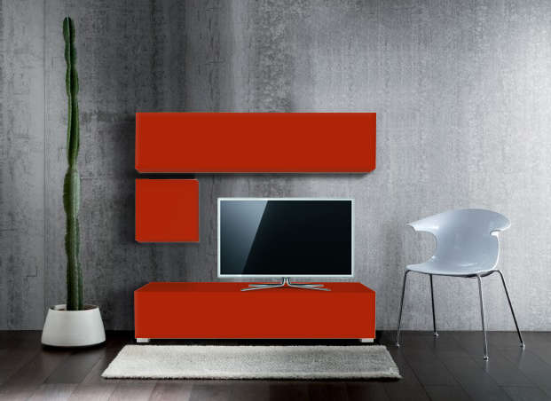 Ensemble tv pas cher design Rouge MADISON