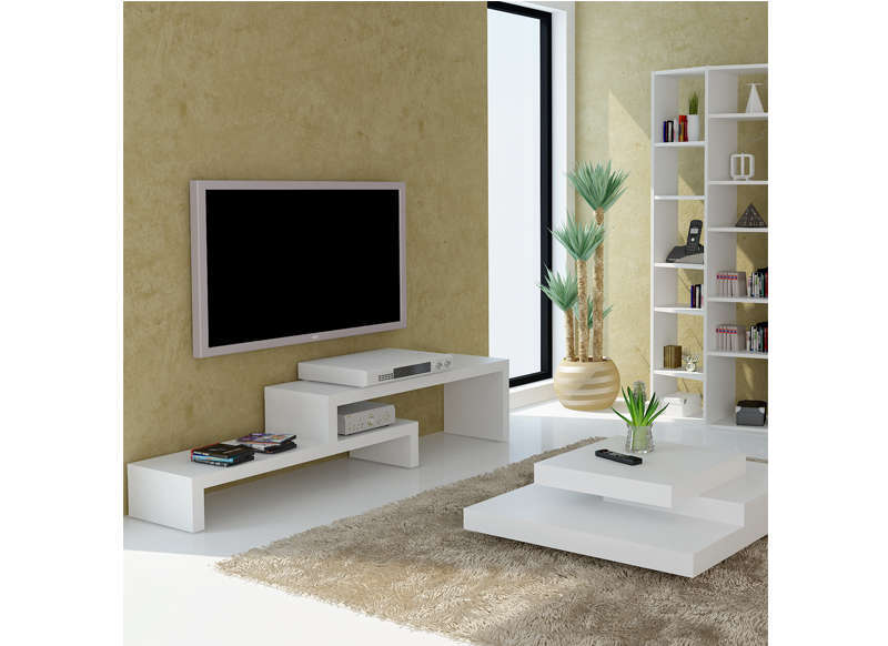 Meuble tv design blanc 125 cm skien for Photo meuble tv design