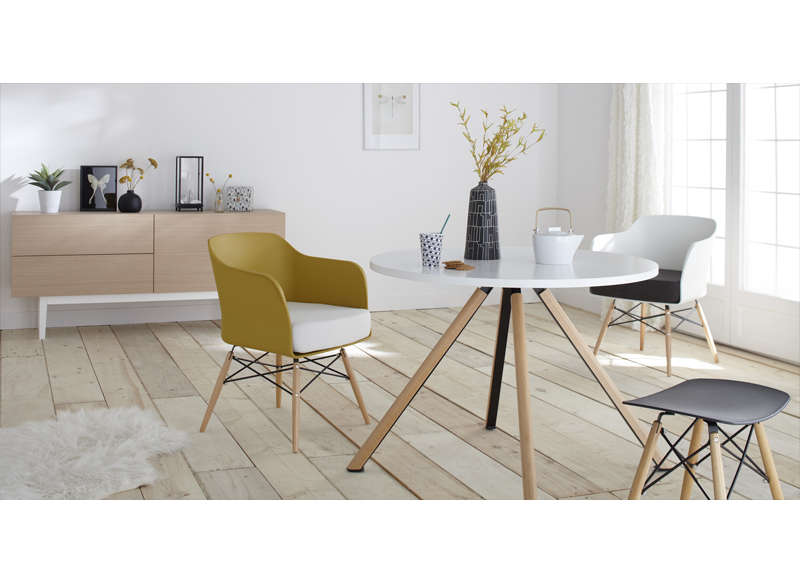 Buffet 160 cm bois et blanc scandinave copenhague l bois achatdesign - Table style nordique ...