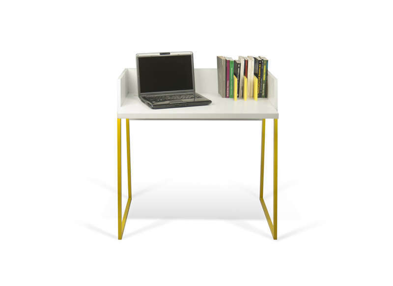 Bureau pietement jaune achatdesign for Petit bureau design