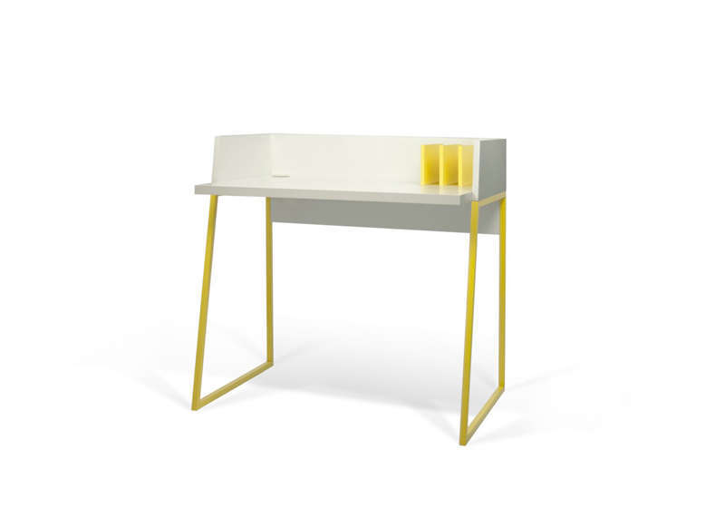 bureau pietement jaune achatdesign. Black Bedroom Furniture Sets. Home Design Ideas