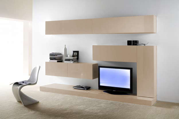 Ensemble tv mural laqu design purete achatdesign - Ensemble tv mural laque ...