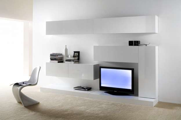 Ensemble tv mural laqu design purete achatdesign - Meuble salon tv design ...