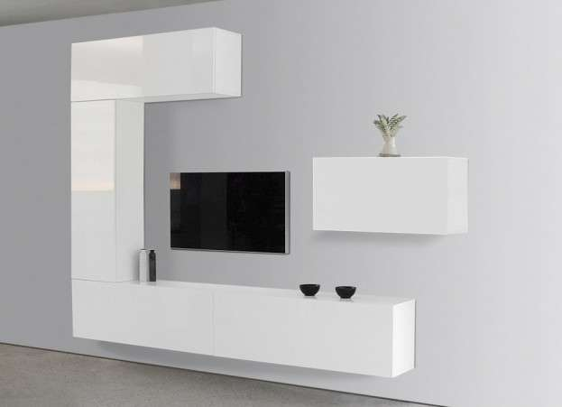 Ensemble tv mural laqu romance achatdesign for Meuble de salon blanc laque