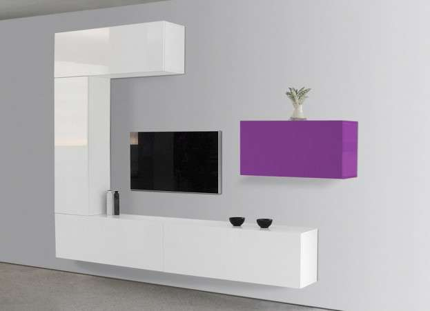 Meuble tv design laqu violet et blanc romance for Meuble mural laque brillant design