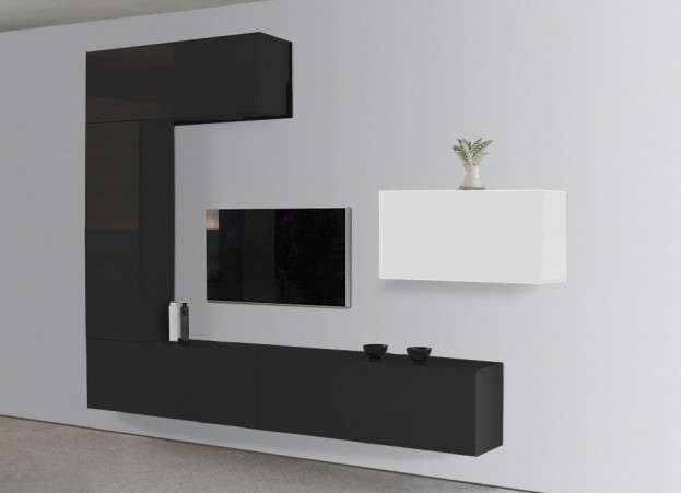 Meuble tv design laqu blanc et orange romance - Meuble tele a suspendre ...