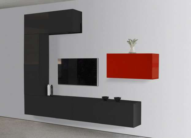 Meuble tv design laqu noir et rouge romance for Meuble mural laque brillant design